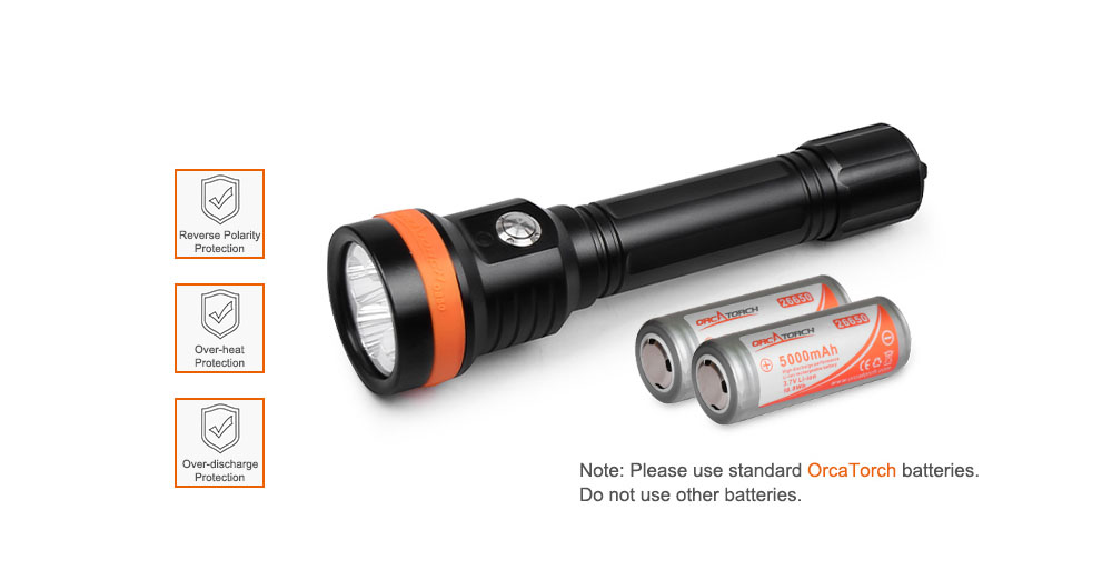 OrcaTorch D850 Dive Light Powered by Two 26650 Li-ion Batteries